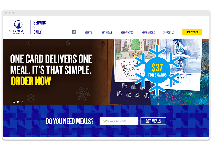 Sanky Citymeals on Wheels Website Before Redesign