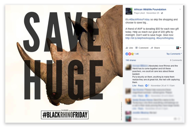 Outstanding Social Media Campaign: African Wildlife Foundation, Black Rhino Friday