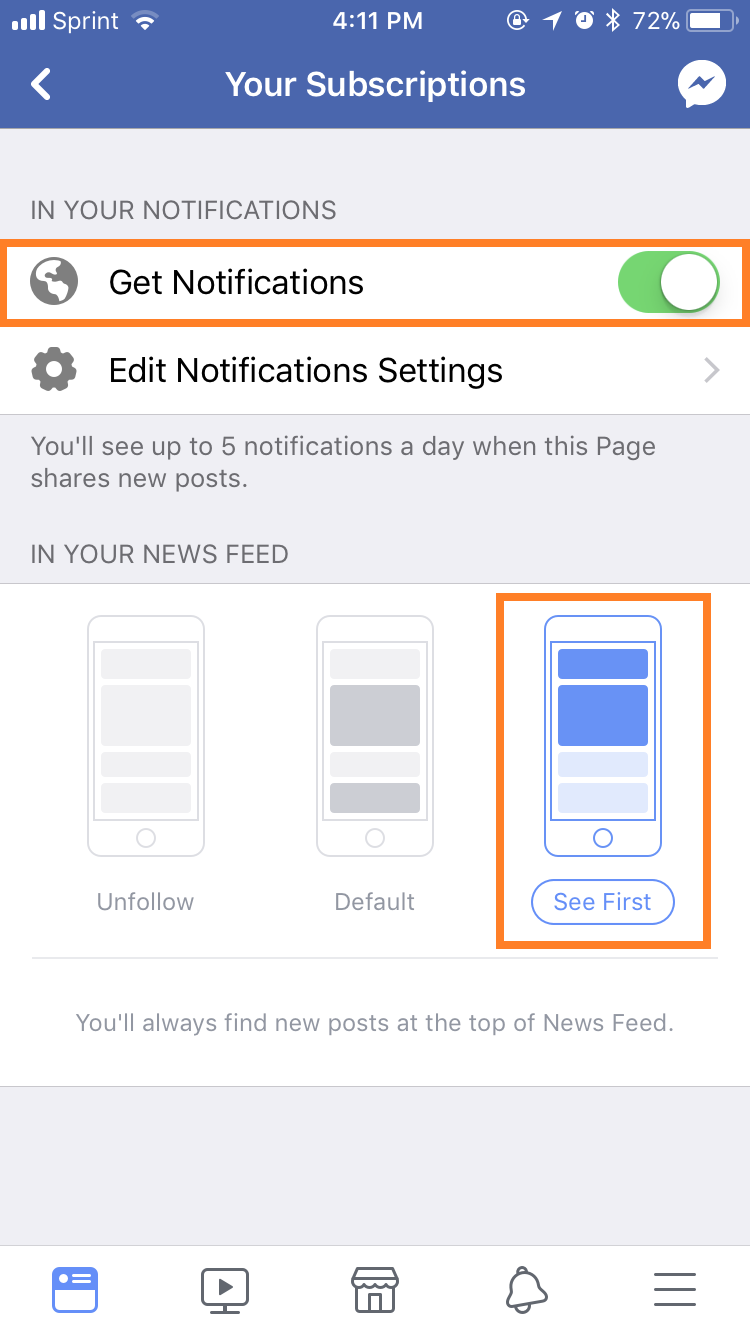 Turn on Facebook Get Notifications settings